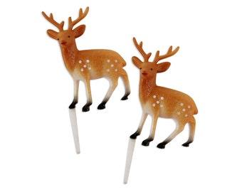 Large Deer Picks - 6 vintage inspired deer cupcake or cake toppers