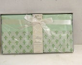 Boxed  Set Vintage Pillowcases - Dan River - Mint Green Fleur-de-Lis - Muslin- Vintage