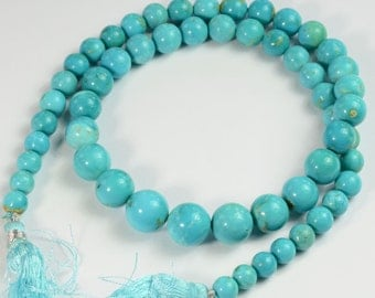 GIA Certified 6.8MM to 11.6mm Sleeping Beauty Turquoise Smooth Round Beads 18 inch strand