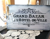Vintage Chic French Hotel Large 19 x 11 Hand Painted Wood Wall Plaque Sign Paris Chic ~ Shabby  Wall Decor ~ Antiqued sign ~ Distressed