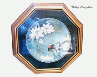 Wood Framed Collection Plate - Oriental / Ducks / Floral