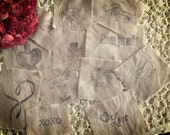 12 Valentine Distressed  Motifs - Variety Pack - XOXO - Love - Love Potion  - Amor - Kiss Me - Adore - Postage Stamp - Valentine Wishes