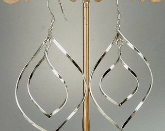 Vintage Sterling Silver Spiral Pierced Earrings