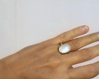 Moonstone Ring  Moonstone Jewelry Birthstone Ring Statement Ring Handmade Sterling Silver Ring