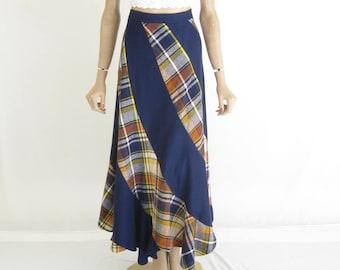 Vintage 70's Wool Hippie Boho Maxi Skirt
