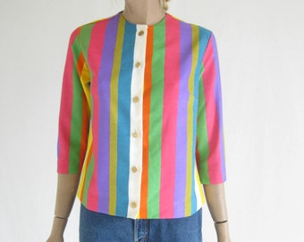 Vintage 60's MOD Striped Blouse