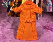 Super Mod Orange Micro-Swirls Blythe Doll Dress