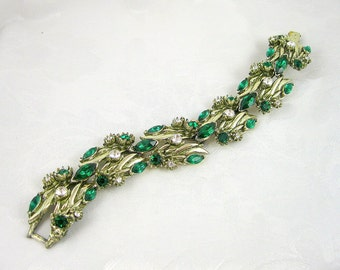 Vintage Rhinestone Bracelet Emerald Crystal Goldtone Restored