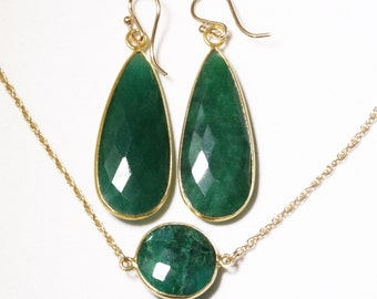 Precious Emerald 2-pc SET Necklace & Earrings Set Genuine Emerald Earrings Adjustable Necklace May Birthstone BZ-SET-152.2-Em/g