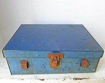 Vintage 1940's Metal Industrial Time Worn Small Tools Box in Old Blue Paint, Small Storage Box, Vintage Lunch Box, Utility Box