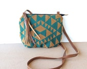 date purse  • small crossbody bag - southwest • teal - brown faux suede - hand screenprinted - everybad purse • vukani