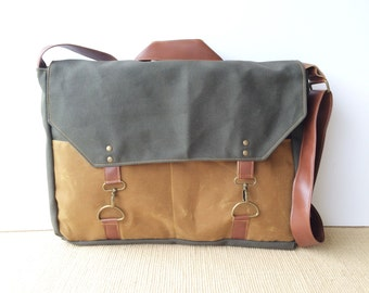 boss bag • waxed canvas messenger bag - laptop bag - mens bag • brown waxed canvas - olive industrial canvas • scout