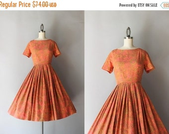 STOREWIDE SALE 1950s Dress / Vintage 50s Fall Floral Dress / Fifties Brushed Cotton Pleated Day Dress