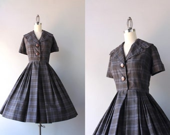 1950s Dress / Vintage 50s Plaid Cotton Day Dress / 50s Jeanne Model Shawl Collar Shirtwaist Dress