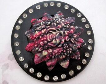 vintage large celluloid dress clip pressed flower floral with rhinestones - j6213