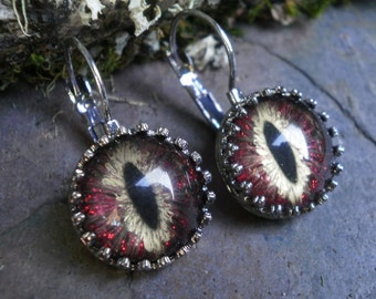 Gothic Steampunk Lever Earrings with Red Gold Eyes