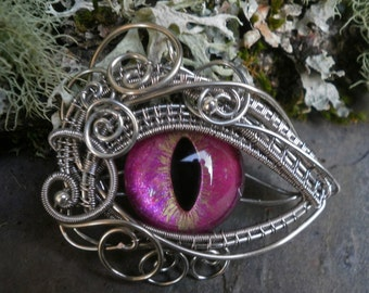 Gothic Steampunk Lovely Pink Eye Pendant