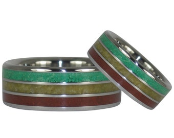 Rasta Titanium Ring Bands