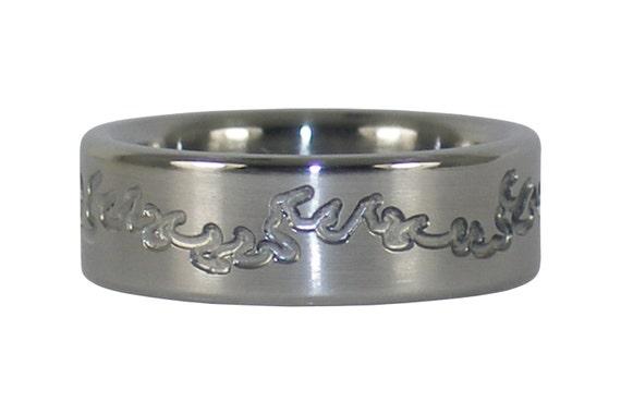 Engraved Fire Titanium Ring