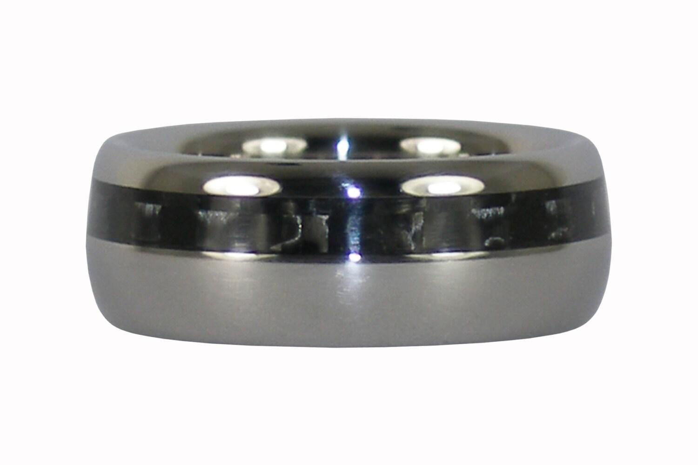 Black carbon fiber titanium ring for Kevlar wedding ring