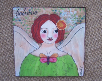 Angel Painting original OOAK Encaustic Mixed Media Painting Debi Original FREE SHIPPING