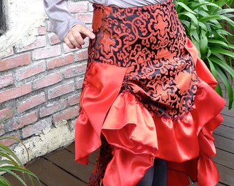 Red and Black Aster Shimmer Brocade Ruffled Bustle Skirt