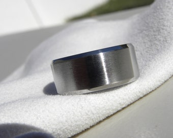 Wide Widths Titanium Ring or Wedding Band, Beveled Edges