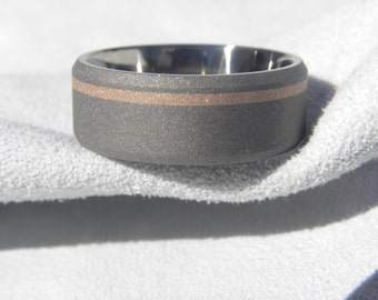 Titanium Rose Gold Ring, Beveled Edges, All Sandblasted, Offset Rose Gold Stripe Inlay