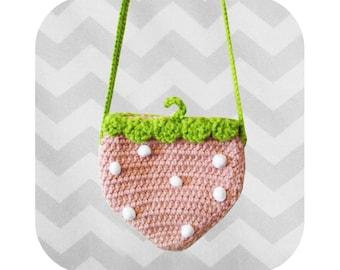 Adorable strawberry crossbody bag - PDF crochet pattern - INSTANT DOWNLOAD