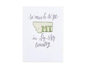Montana Letterpress State Print // 1canoe2 // Hand illustrated