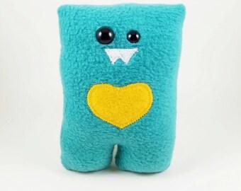 Aqua Turquoise Blue Nubbin - Custom Color Heart - Made To Order