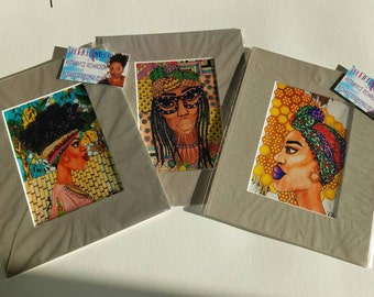 Set of 3 matted prints