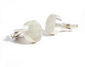 Sterling Silver  Round Brushed Cufflinks