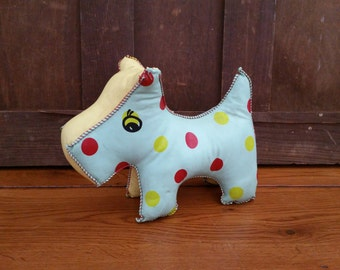 Vintage Polka Dot Vinyl Plush Stuffed Toy Dog