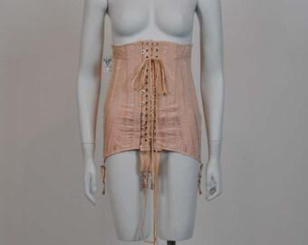 vintage corset / Ruffle His Feathers Pink Vintage 1920's Girdle 20s Corset