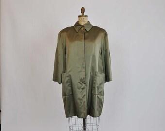 vintage jacket / Oversized Vintage 1970s Bill Blass Olive Jacket