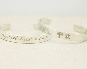 Silver Cuff Bracelet ACTUAL Handwriting Jewelry - Personalized Jewelry - Memorial Jewelry - Handwriting Bracelet