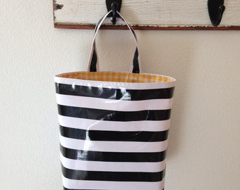 Beth's Black Stripe Oilcloth Car Trash Bag
