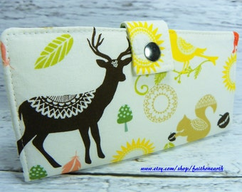 Brown Deer Handmade Long Wallet - BiFold Clutch - vegan wallet -  deer squirrel and fox wallet