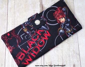 Handmade Long fandom geek Wallet  BiFold Clutch - Vegan Wallet - Black Widow or half size unisex wallet