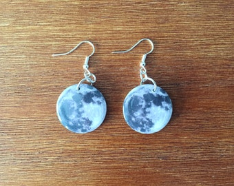 Moon Earrings 1 Inch Button