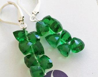 Trillion Cluster Earrings, Emerald Green Quartz, Emerald Green earrings, Green Trillion. Gift Idea