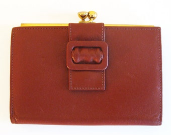 Vintage Wallet in Brown - Bond Street Leather Wallet with Change Purse and Buckle Detail