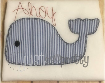 Vintage Blanket Ahoy Whale Applique Embroidery Design