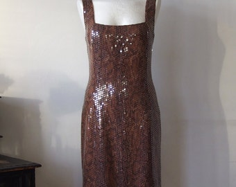 Sleevless golden brown evening dress, fitted party dress, snake skin print dress with sequins, pencil dress, sexy party dress