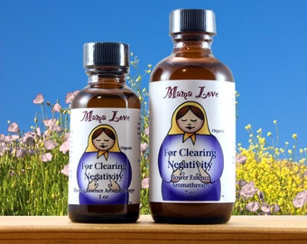 Clearing Negativity, Spiritual Support, 1 or 2 oz Organic Flower Essence Aromatherapy, Reiki-Infused oil, Bach Flower, Yoga, Spa
