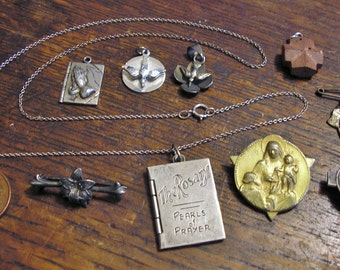 Antique RELIGIOUS MEDAL Pins, Pendants, Charms, some Sterling Silver, Enamel
