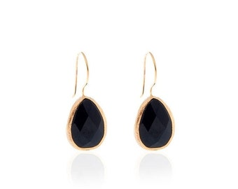 15% Discount Onyx Drop Earrings with Gold Coated Silver Settings
