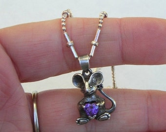 SALE Adorable Sterling Mouse Amethyst Heart Pendant on Sterling Chain