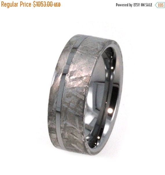 15% OFF Holiday Sale Meteorite Ring, Tungsten Wedding Band, Inlaid with solid Gibeon Meteorite